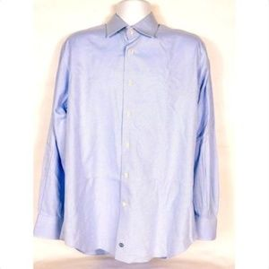 David Donahue Men's Dress Shirt Size 16 34/35 Blue